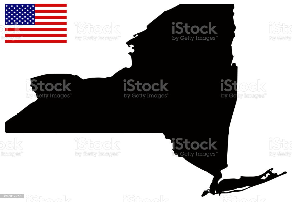 New York State Map With Usa Flag stock vector art 897017268 iStock