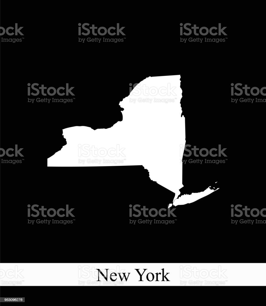 New York State Of Usa Map Vector Outline Illustration Black And ...