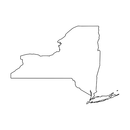 New York, state of USA - solid black outline map of country area. Simple flat vector illustration