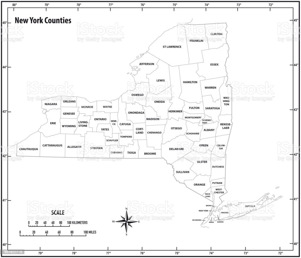 new york state outline administrative and political map in black and white