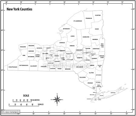 New York State Outline Administrative And Political Map In Black And
