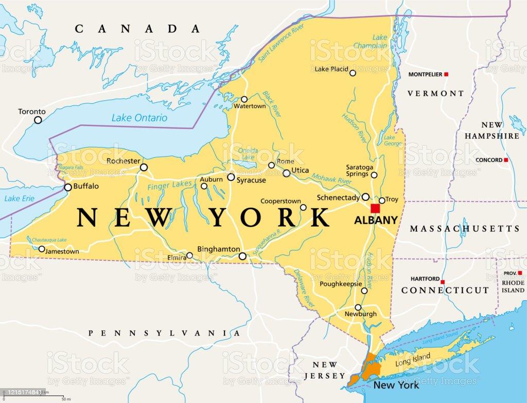 état De New York Carte Politique Vecteurs Libres De Droits Et Plus D Images Vectorielles De Albany état De New York Istock