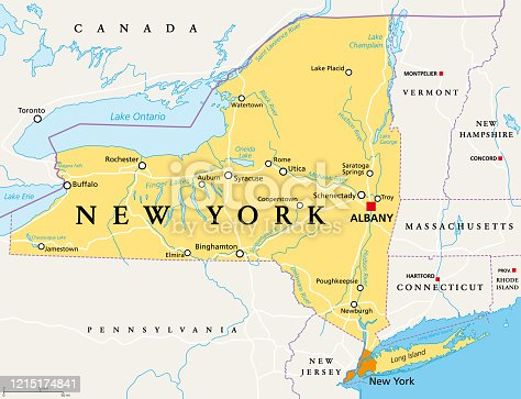 New York State (NYS), political map