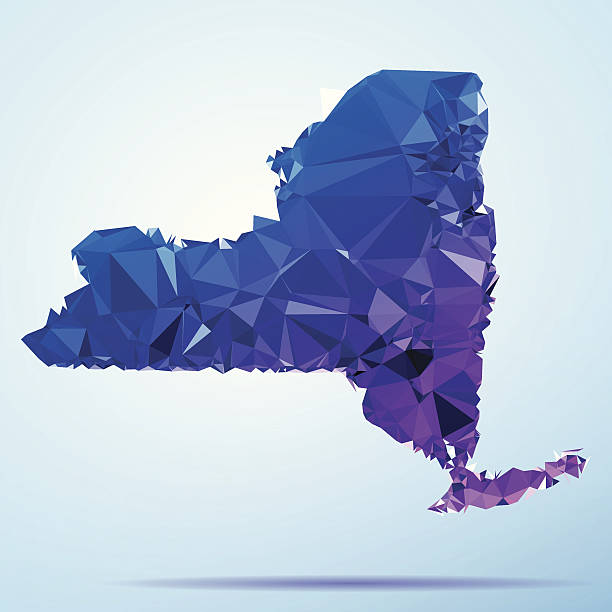 New York State Polygon Triangle Map Blue Abstract Polygon Triangle vector map of New York State, USA. File was created in DMesh Pro and Adobe Illustrator on May 22, 2014. The colors in the .eps-file are in RGB. Transparencies used. Included files are EPS (v10) and Hi-Res JPG (5035 x 5035 px). map crystal stock illustrations