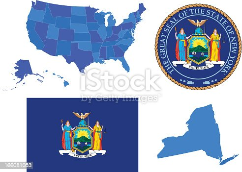 Vector illustration of New York state, contains: