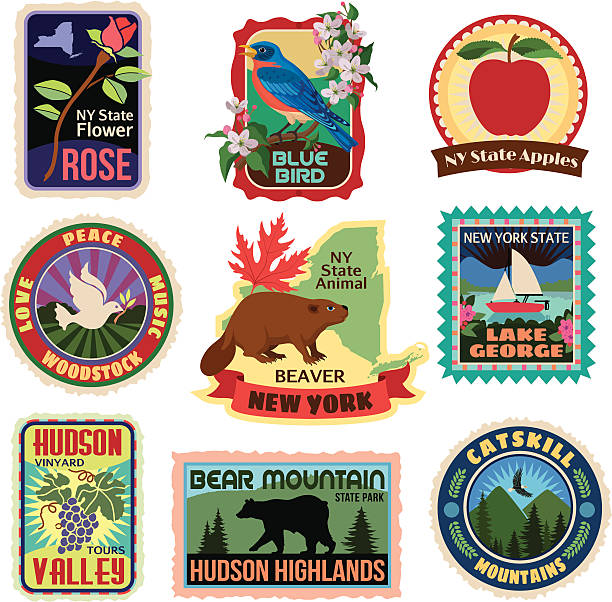 New York State travel stickers Vector travel stickers about lower New York state. catskill mountains stock illustrations