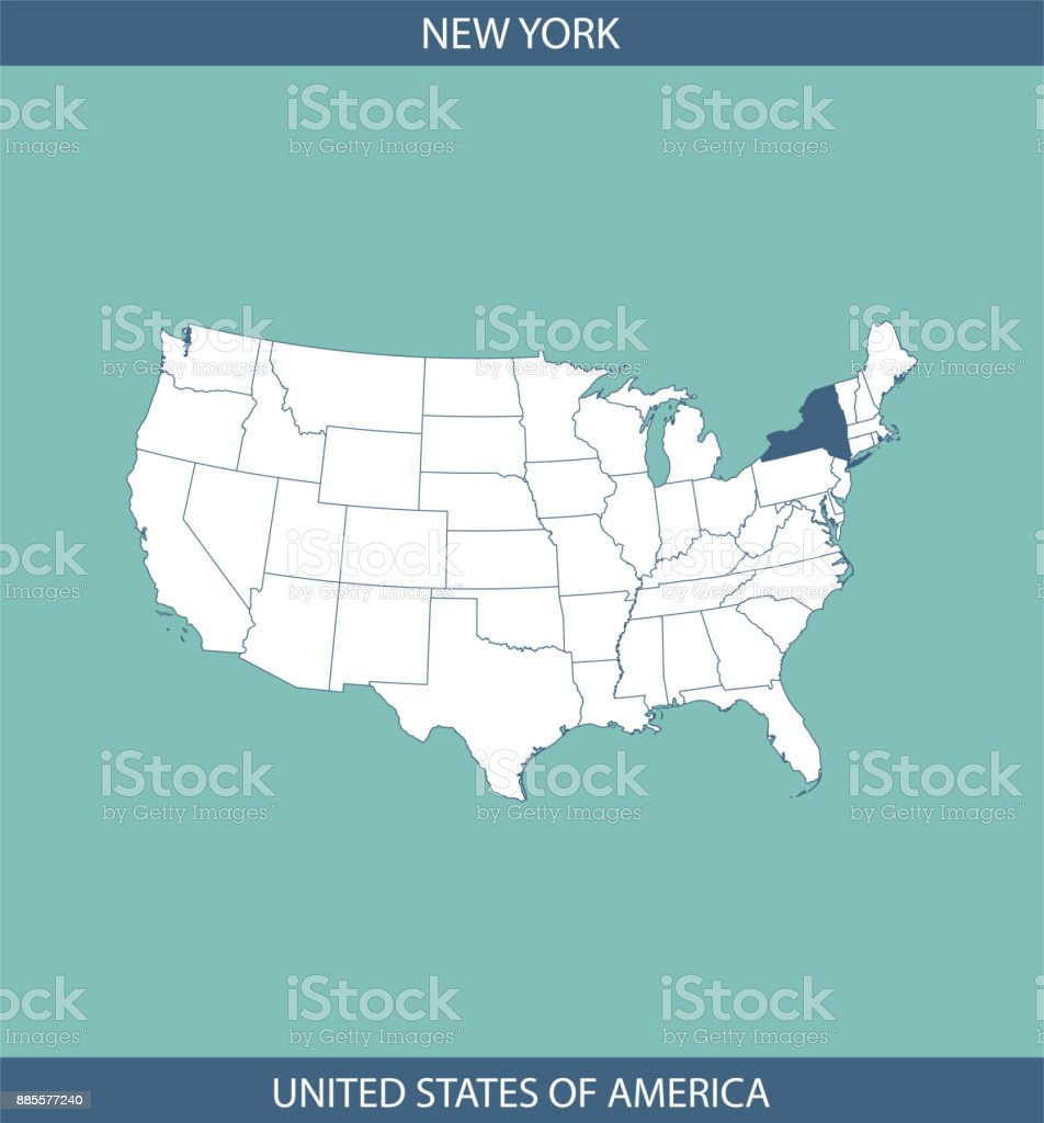 New York State Usa Map Outline Vector Blue Background Image Art ...