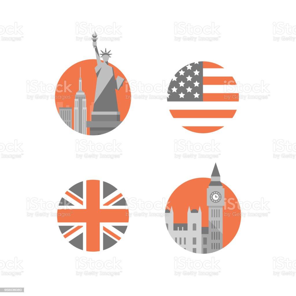 New York, statue of liberty, London, Big Ben tower, international education, British and American English language vector art illustration