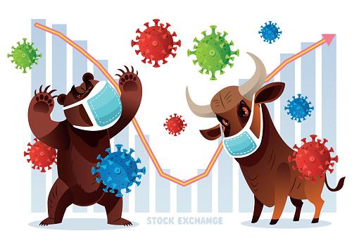 Vector New York stock exchange, Bull and Bear