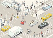 A detailed vector illustration of a New York City street, in isometric view, including fifty individual people and a mix of different vehicles.
