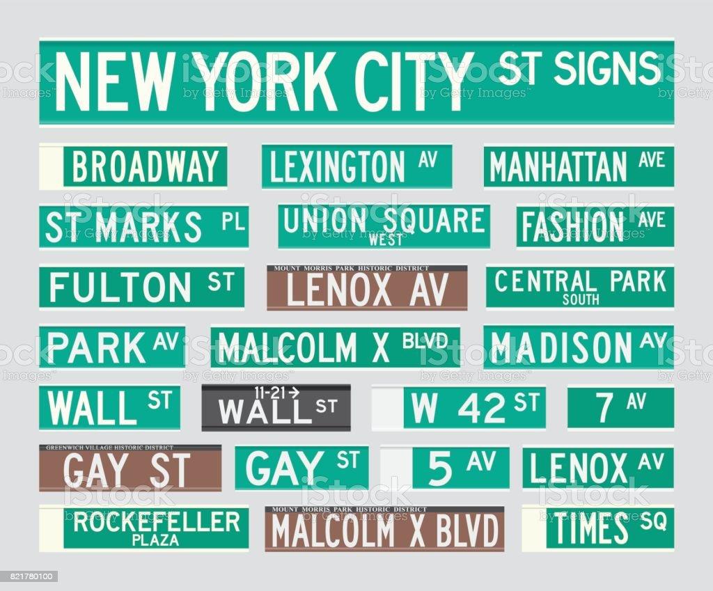 Placas de calle de Nueva York - ilustración de arte vectorial