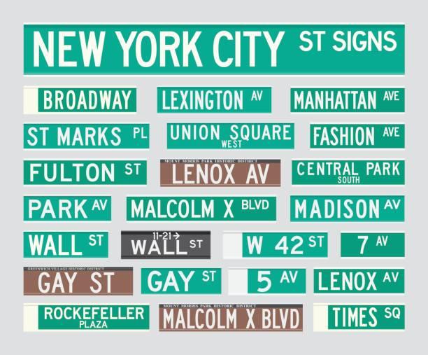 ilustraciones, imágenes clip art, dibujos animados e iconos de stock de placas de calle de nueva york - señalización vial