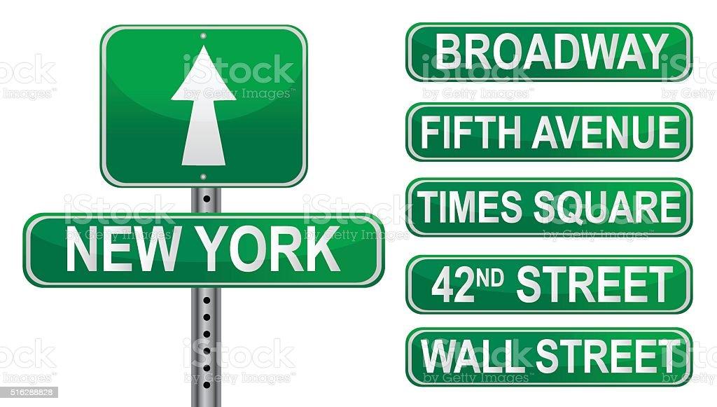 Nueva York Calle señales. Archivo vectorial. - ilustración de arte vectorial