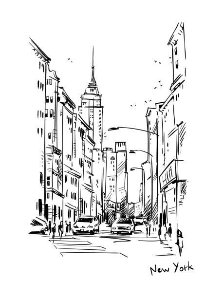 ニューヨークのストリート、ベクター スケッチ - 都市 モノクロ点のイラスト素材/クリップアート素材/マンガ素材/アイコン素材