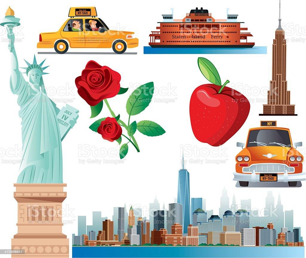 New York Symbols vector art illustration