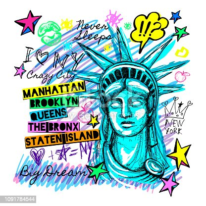 New York, t shirt design, poster print, statue of liberty lettering, map, tee shirt graphics, trendy, dry brush stroke marker, color pen, ink, watercolor. Hand drawn vector illustration
