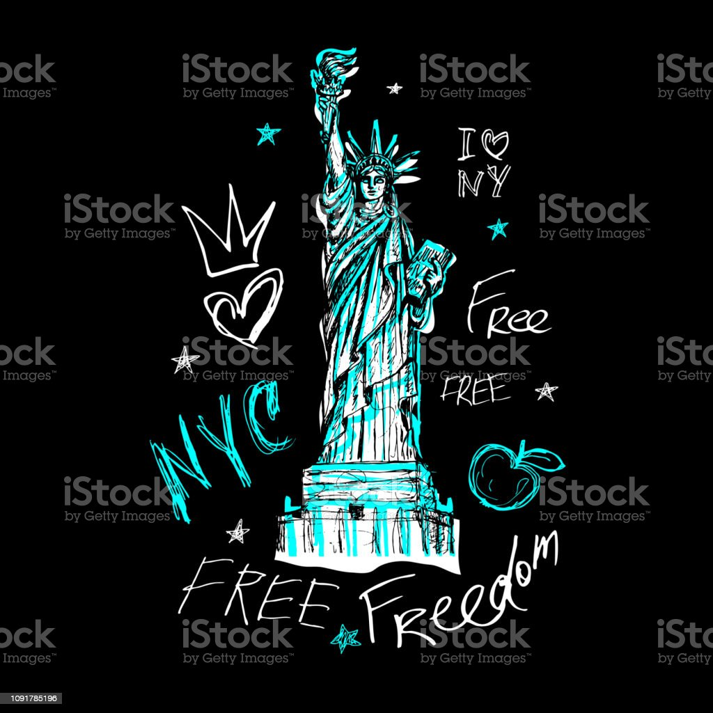New York T Shirt Design Poster Print Statue Of Liberty