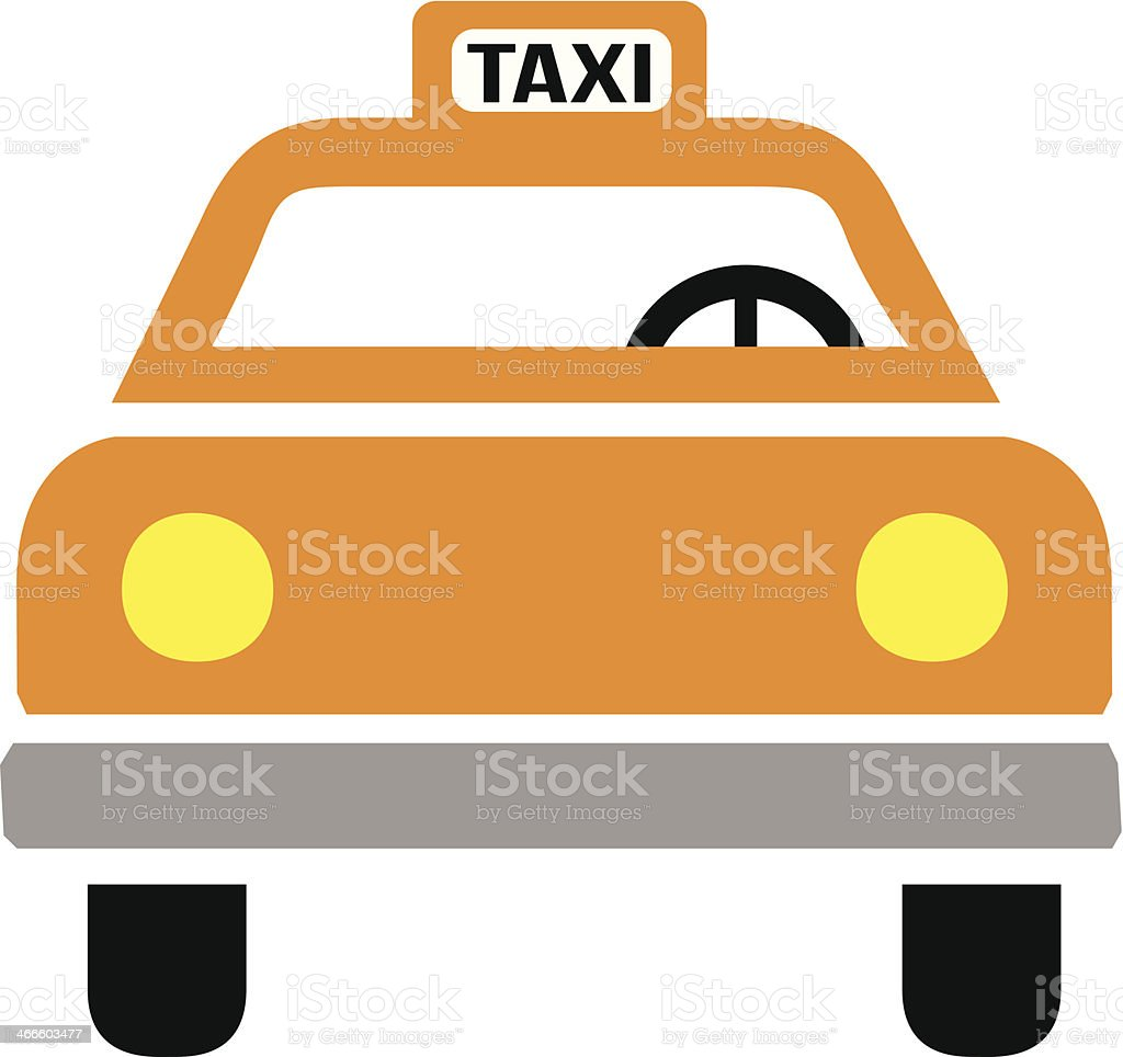New York taxi cab icon front view vector art illustration