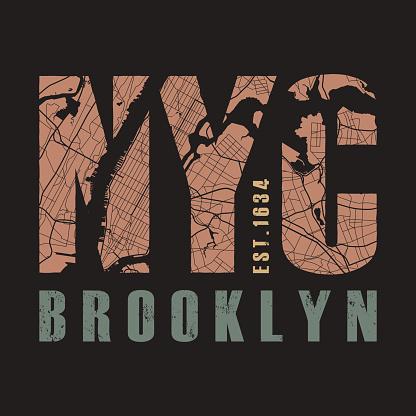 New York tee print. Vector illustration.