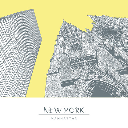 New York. The Cathedral of St. Patrick and a skyscraper in Manhattan. Vector illustration in engraving style.
