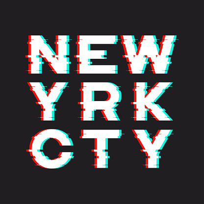 New York t-shirt and apparel design with noise, glitch, distortion effect. Vector print, typography, poster, emblem.