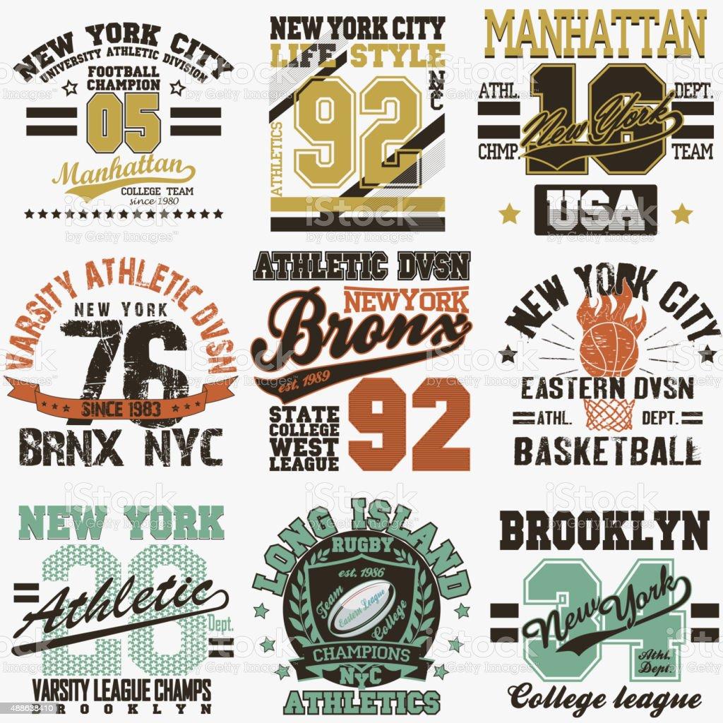 New York t-shirt set vector art illustration