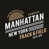 New York typography for t-shirt print. Track and field, athletic t-shirt graphics