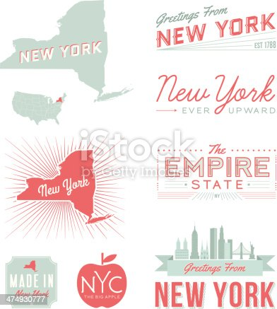 A set of vintage-style icons and typography representing the state of New York, including NYC. Each items is on a separate layer. Includes a layered Photoshop document. Ideal for both print and web elements.