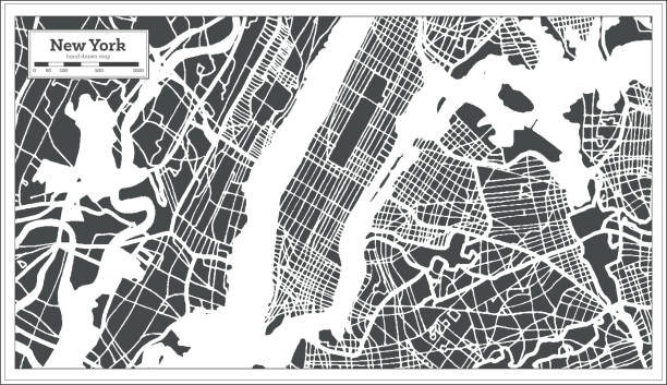 new york usa city map in retro style. outline map. - new york map stock illustrations, clip art, cartoons, & icons