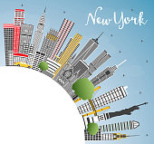 New York USA City Skyline with Gray Skyscrapers, Blue Sky and Copy Space. Vector Illustration. Business Travel and Tourism Concept with Modern Architecture. New York Cityscape with Landmarks.