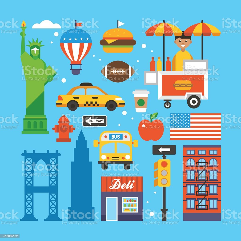 New York, USA flat elements for web graphics and design.