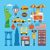 New York, USA flat elements for web graphics and design. Isolated vector illustration