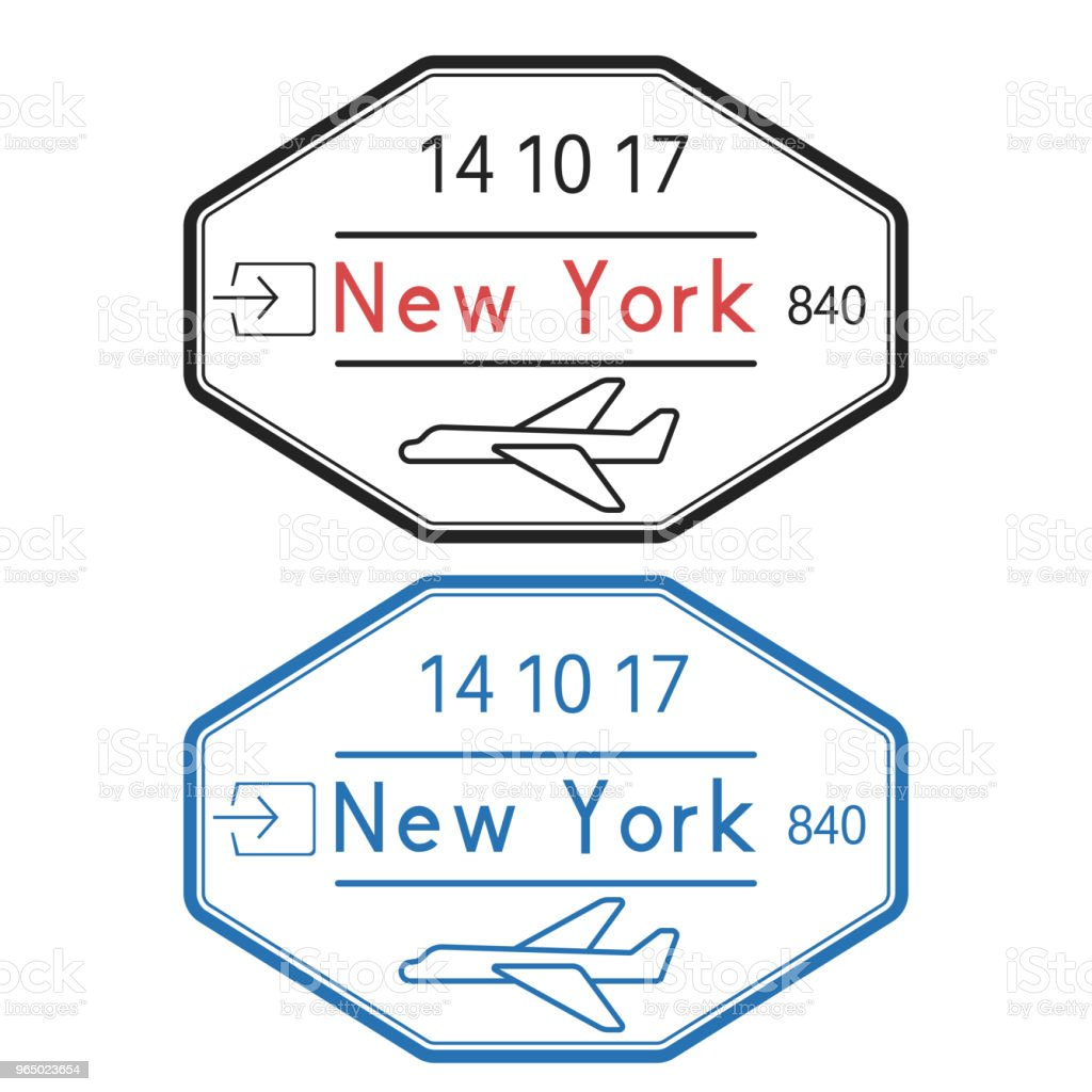 New York USA Passport Stamps Arrival By Plane With Date Royalty Free