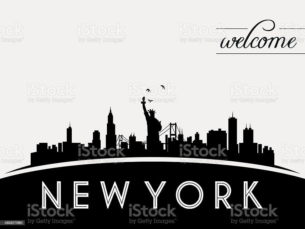 New York USA skyline silhouette, black and white design vector art illustration