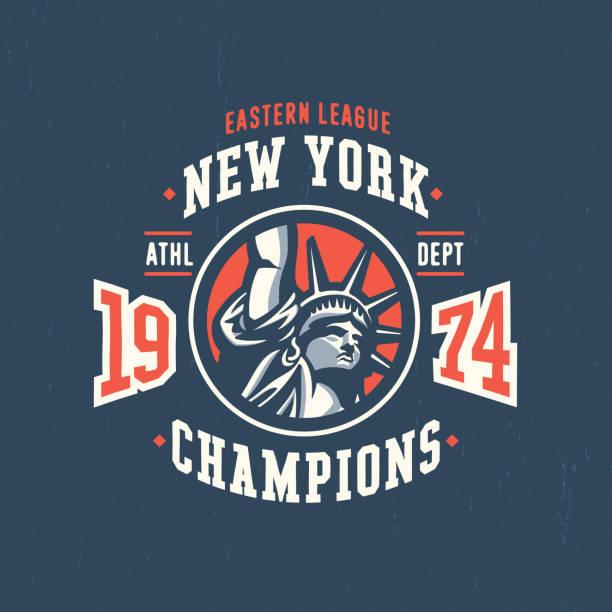 illustrazioni stock, clip art, cartoni animati e icone di tendenza di new york varsity t shirt apparel graphic. - souvenir