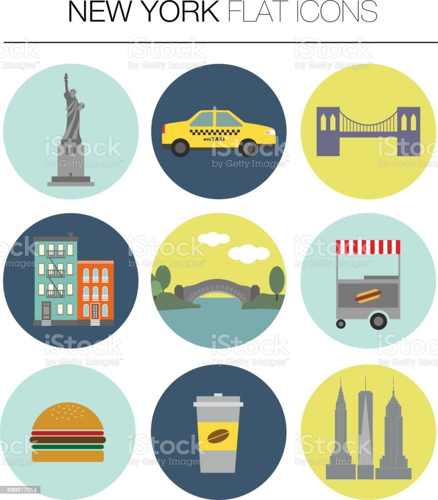 New York vector flat icon set vector art illustration