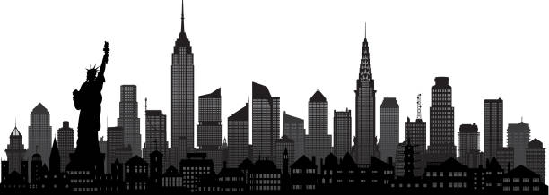new york (all buildings are moveable and complete) - urban skyline stock illustrations