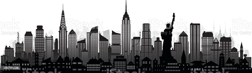 New York (Complete, Detailed, Moveable Buildings) vector art illustration