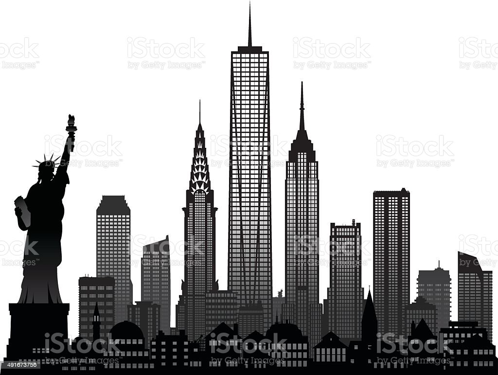 New York (Each Building is Detailed, Moveable and Complete) vector art illustration