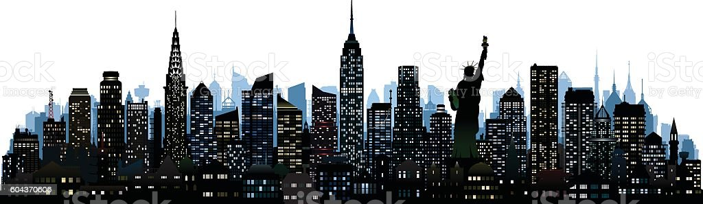 New York (All Complete, Moveable, Detailed Buildings) vector art illustration