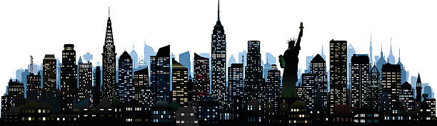 new york (all complete, moveable, detailed buildings) - urban skyline stock illustrations
