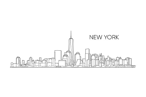 New York vector panorama, hand drawn line art illustration.
