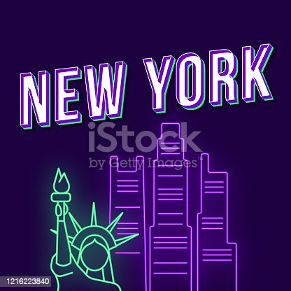 istock New York vintage 3d vector lettering. Retro bold font, typeface. Pop art stylized text with neon light. Liberty statue, skyscrapers. 90s, 80s poster, t shirt typography design. Dark  color background 1216223840