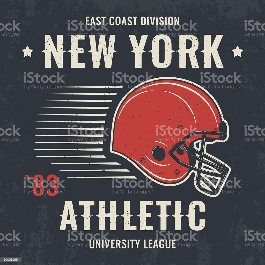 New york vintage t-shirt graphics with football helmet. - ilustración de arte vectorial