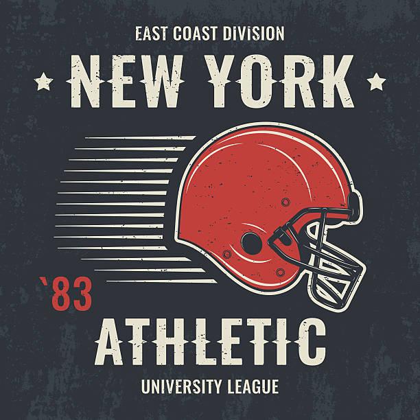 new york vintage t-shirt graphics with football helmet. - アメリカンフットボール点のイラスト素材/クリップアート素材/マンガ素材/アイコン素材