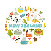 New Zealand abstract design with national symbols, animals, landmarks, elements