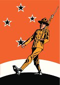 Vintage style war poster illustration of a WWII era New Zealand ANZAC Soldier marching - complete with Lemon Squeezer hat.