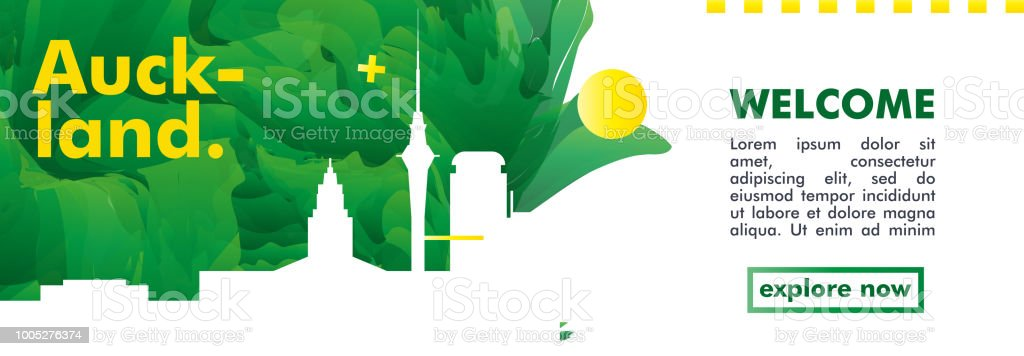 New Zealand Auckland skyline city gradient vector poster vector art illustration