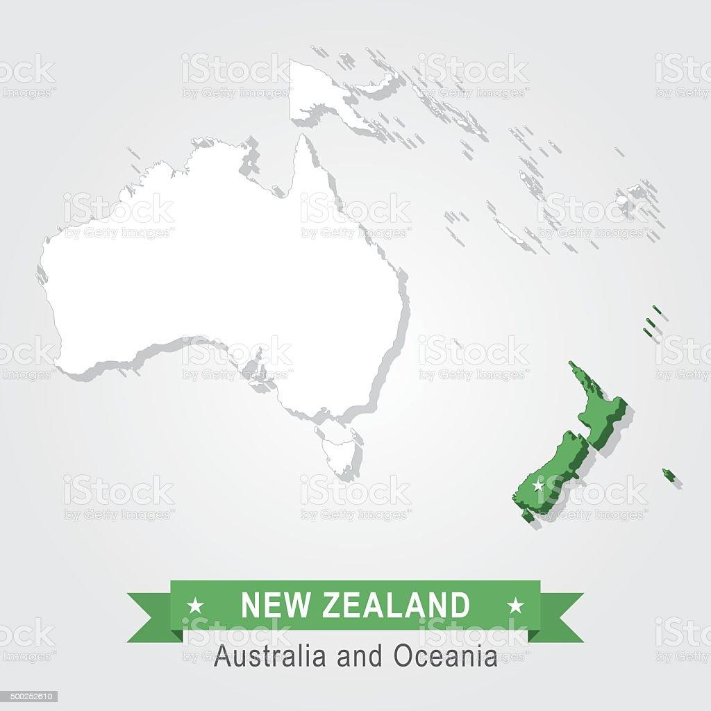 New Zealand Australia And Oceania Map Stock Vector Art