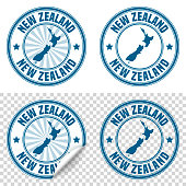 Map of New Zealand on a blue sticker and a blue rubber stamp. They are composed of the map in the middle with the names around, separated by stars. The stamp at the top right is created in a vintage style, a grunge texture is added to create a vintage and realistic effect. Vector Illustration (EPS10, well layered and grouped). Easy to edit, manipulate, resize or colorize. Please do not hesitate to contact me if you have any questions, or need to customise the illustration. http://www.istockphoto.com/portfolio/bgblue